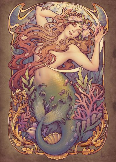 Medusa Dollmaker Art Nouveau   Displate Prints on Steel