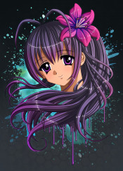 animegirl mangagirl anime manga cute cutegirl kawaii flower purple hair eyes splats ink otaku character artwork daughter cosplay girl female woman moe