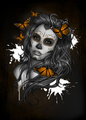 sugarskull sugarskullgirl dayofthedead candyskull candyskullgirl butterflies butterfly black orange gray beauty tattoo tattooed tattoostyle tatt artwork darkhair tattoodesign portrait girl woman face mexico mexican makeup