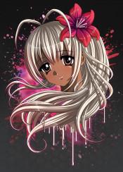 anime manga aimegirl mangagirl black red lily flower afro african blackgirl bigeyes paint drips splatter portrait face hair beauty brown indian animecharacter mangacharacter cartoon