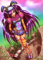 mangagirl animegirl cuteanime colorful rainbow fashion kawaii girl cosplay cosplayer funky clothes outfit bunny