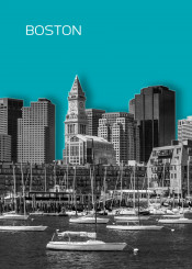 boston new england massachusetts city urban cyan pop modern trendy usa united states architecture cityscape attraction skyline downtown skyscraper north end abstract decorative graphic design illustration silhouette text wall typography word style colorful jazzy