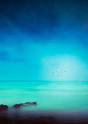 mediterranean turquois blue minimalism rocks seascape backlight birds calm serenity longexposure horizon painterly