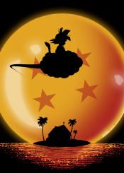 anime manga goku saiyan silhouette moon sun