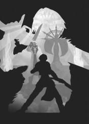 squall leonhart gaming shadows final fantasy retina black white