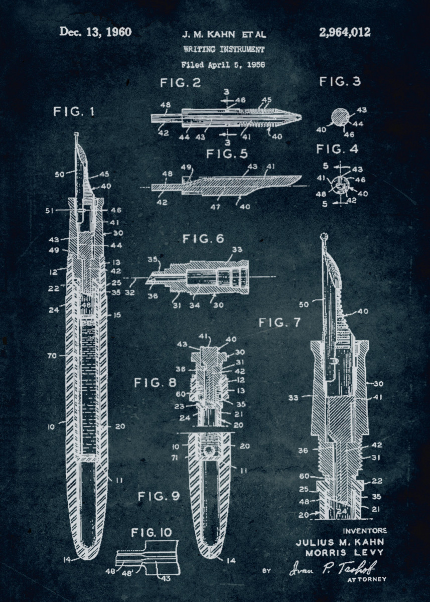 No081 - 1956 - Writing instrument - Inventors Julius M Kahn & Morris L