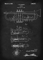 trumpet vintage patent musical instrument music brass instruments newman