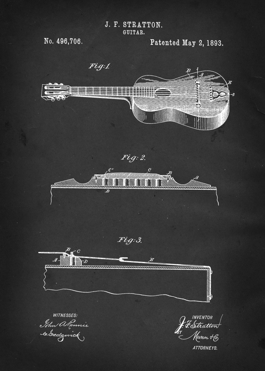 Acoustic Guitar - Patent #496,706 by J.F. Stratton - 1893 297070