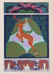 illustration, vintage, bookillustration, deer, animals, colorful