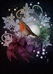 robin snowflake christmas xmas holidays bird nature animals tattoo bow