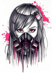 gasmask girl face portrait neon markers drips paint grayscale gray pink urban tattoo graffiti