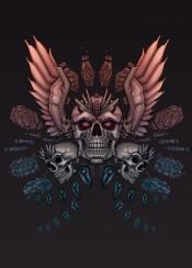 tattoo skull skulls mech mechanical wings illustration tattoodesign artwork goth biker metal