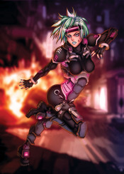 cyberpunk videogame character explosion cyber soldier scifi future sergent police gits ghostintheshell manga anime