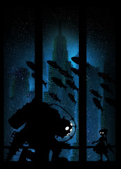 bioshock gaming gamer big daddy ink inking ocean water girl little teddy gun sea underwater steampunk fish rapture stars guns kill killer ghost demon horror ps3 ps4 xbox