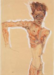 schiele,egonschiele,man,portrait,watercolor,met