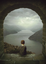 fjord lake river mountains skies boy dreamer dreaming space out sitting nostalgia melancholy walls energy life