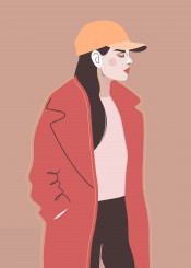 woman girl style fashion cap coat simple vector