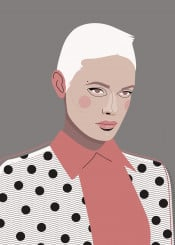 woman simple dots fashion portrait style