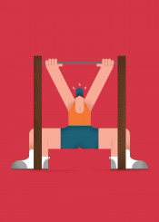 gym illustration vector character colours minimal flat design