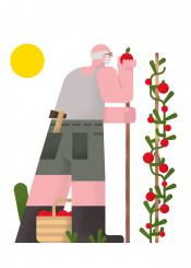 illustration vector summer veg character minimal colours vintage