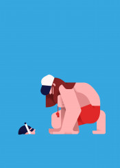 illustration vector colours lifeguard character flat minimal