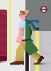 london underground vector illustration characters vintage