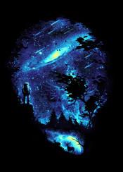 space skull galaxy death creation astronaut cosmic silhouette negative stars