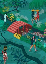 japan ukiyoe forest dream fantasy imagination old woodcut japanese magical journey ancient koi