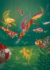 koi fish pond japan japanese ukiyoe magic pen colorful water ancient vintage