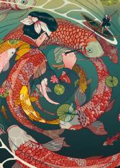 ukiyoe japan japanese woodcut colorful pond circle fantasy imagination traditional surrealism magical koi fish pen creative
