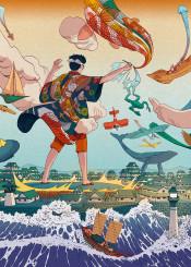 ukiyoe japanese japan edo creative giant comic manga animals wave sea city legend colossus surrealism imagination dream