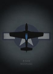 p51 mustang fighter plane airplane world war warrior illustration dark grey black