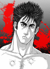 hokutonoken manga anime kenshiro fistofthenorthstar blood monochrome comic fighter warrior martialarts videogame gray red