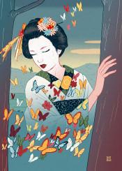 geisha japanese japan tale butterfly colorful ukiyoe hiroshige hokusai illusion depiction surrealism imagination dream night