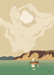 boat japan japanese water ukiyoe landscape clouds calm relax classic tradition woodcut sea nature oldschool