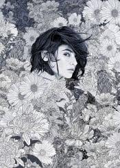 illustration lineart linedrawing sketch drawing garden flowers nature wilderness pattern woman landscape