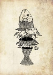 fish fishlover flower flowerist fishing surreal handdrawing illustration vintage retro classic ink inked tattoo