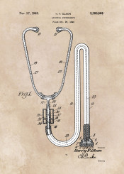 patent patents jbjart medicine acoustic stethoscope inventor decor decoration doctor illustration