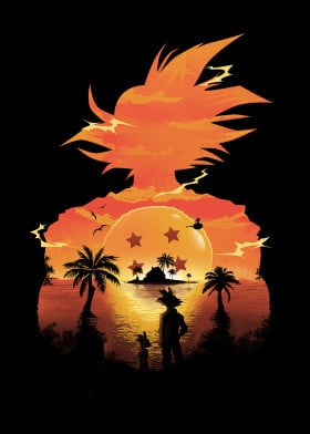 dragonball anime cartoon illustration sunset goku