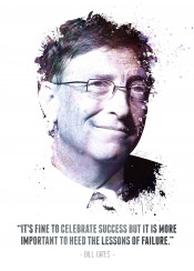 bill gates microsoft windows computer inventor legend legendary legends iconic icon invent technology swav cembrzynski collection quote splatter texture water color its fine celebrate success but it more important heed lessons failure