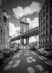 new york city manhattan bridge monochrome black white washington street shadow shadows window architecture sight dumbo brooklyn urban cityscape classic nyc usa attraction popular sightseeing upright vertical cars