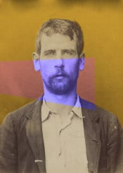 vintage anarchiste portrait man yellow violet modern