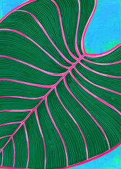 tropical exotic plant greenery leaf abstract painted