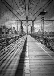 new york manhattan brooklyn bridge black white monochrome detail steel ropes cable construction urban architecture sight landmark usa cityscape sightseeing nyc ny