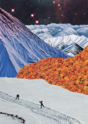 collage photomontage illustration surrealism trippy nature spring space stars ski winter snow mountain flower orange happy happiness paper