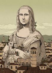 gioconda leonardo davinci mona lisa florence sculpture illustration drawing nicolascastell vintage classic renaissance