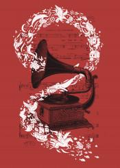 music song songs nature animlas birds sea whale sky record vinyl vintage retro illustration doodle doodles gramophone fantasy