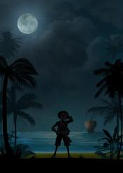 one piece monkey d luffy zoro samurai pirate hunter anime manda inspired ship sea moon night dark black white comics warriors landscape kkcreactive kk king cowboy bebop
