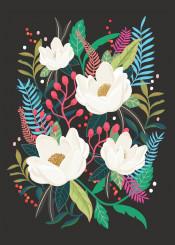 flower floral illustration black whiteflower girly pattern