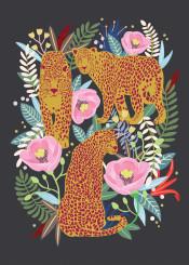 leopard animal flower jungle floral blossom black pink illustration